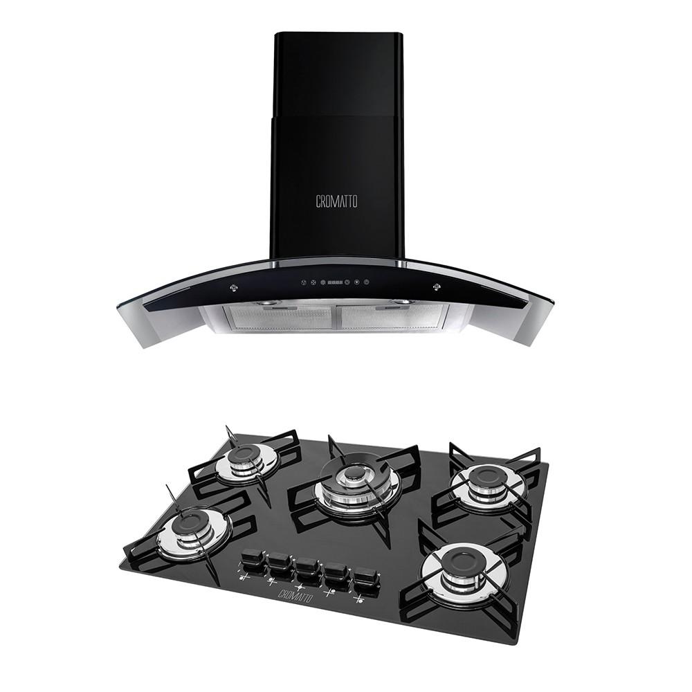 Kit Cooktop 5 Queimadores Tripla Chama + Coifa Parede Vidro/Inox Pto 90cm Digital 110v COvp Cromatto