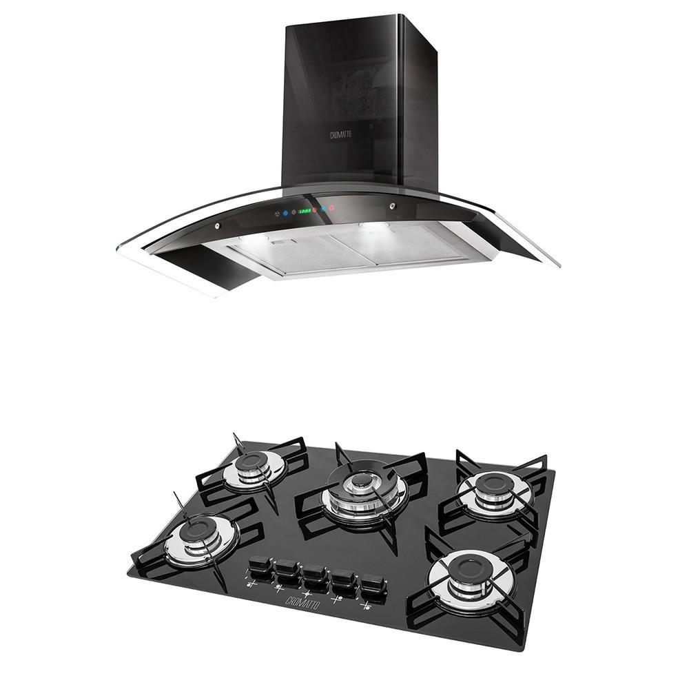 Kit Cooktop 5 Queimadores Tripla Chama + Coifa Parede Vidro/Inox Pto 90cm Digital 220v COvp Cromatto