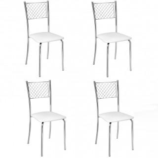 Cadeira de Jantar CA8155 Cromada 4 Unidades - Pozza