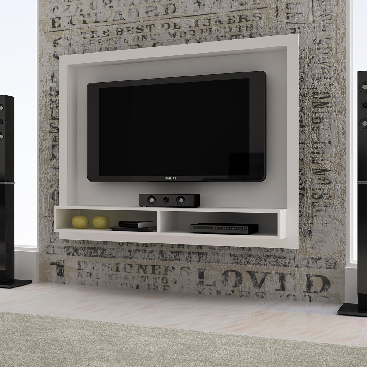 para TV com Prateleira BRV BR 420 Elare Branco Painel para TV  #635C4E 1200x1200