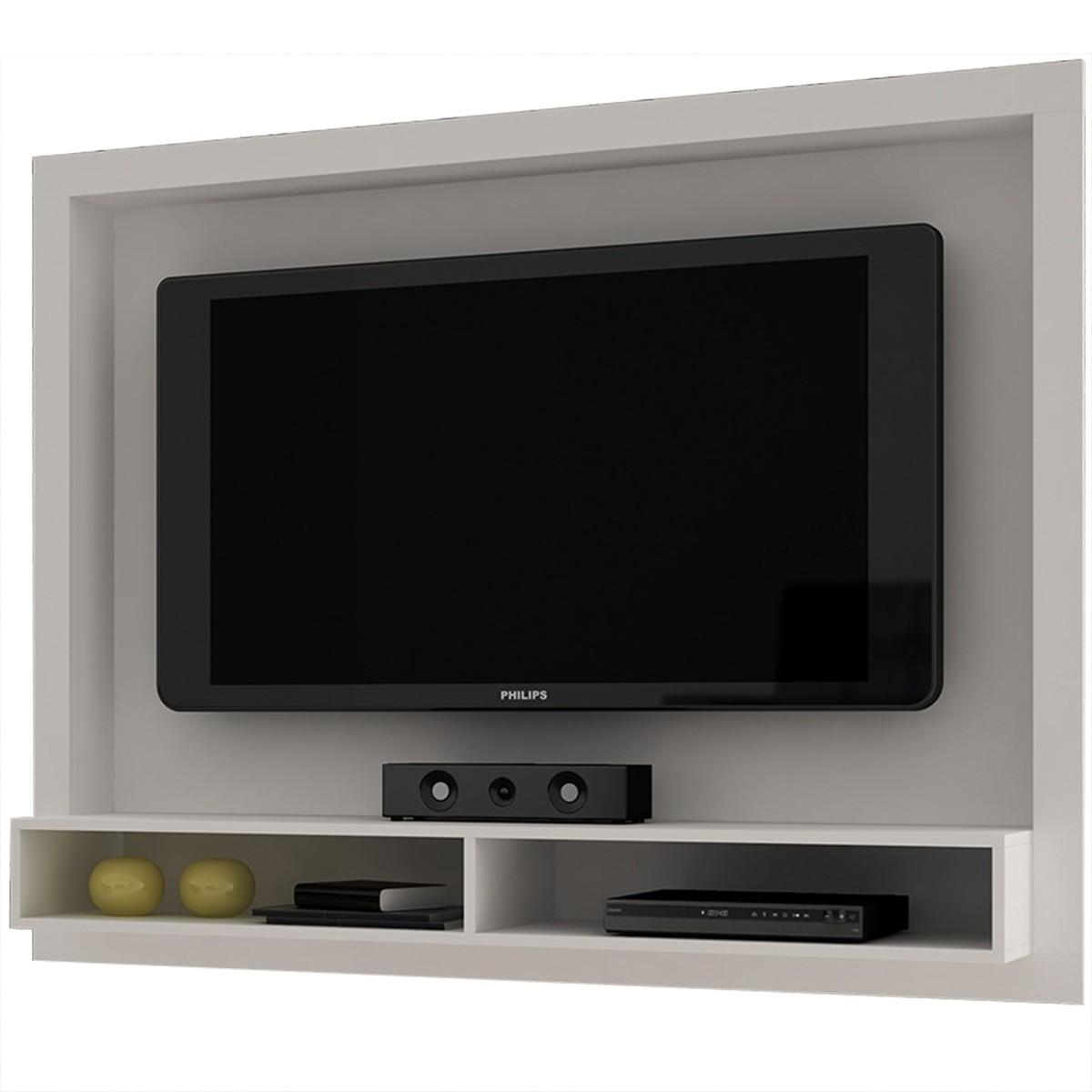 Painel para TV com Prateleira BRV BR 420 Elare Branco {BRV  #6F6642 1200x1200 Acessórios Banheiro Meber