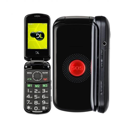 Celular Para Idoso Flip DL Botão SOS Dual Chip Câmera VGA e Rádio FM YC-130 Preto