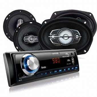 Kit Automotivo Multilaser Som Mp3 + 4 Alto Falantes 6 AU952