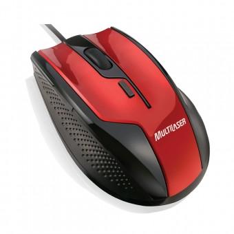 Mouse Óptico Multilaser Gamer Fire 1600Dpi USB preto e Vermelho MO149