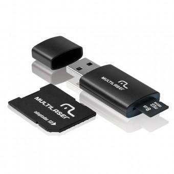 Pen Drive Multilaser 3 Em 1 Micro Sd 8GB, Adaptador E Leitor MC058