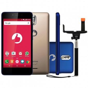 Smartphone Positivo Twist S520 S Dual Azul e Dourado + Bastão de Selfie