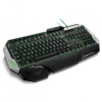 Teclado Multilaser Profissional Gamer Preto e Prata com LED USB TC189