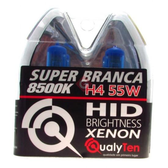 PAR DE L�MPADAS H4 55 WATS SUPER BRANCA - QH4