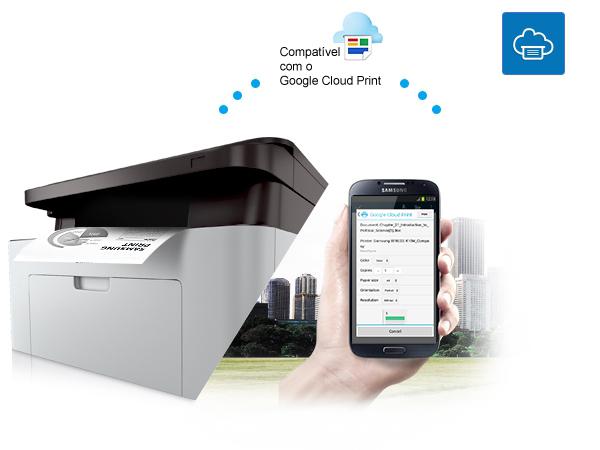 8973dea74eb79 A Multifuncional Samsung Xpress Monocromática 2070 é compatível com o  Google Cloud Print. Assim