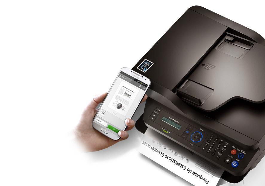Toque o seu celular no selo NFC da Multifuncional Samsung Xpress M2885FW e  imprima, escaneie e envie fax virtualmente, sem intermédio de computador. d6bf6aced9