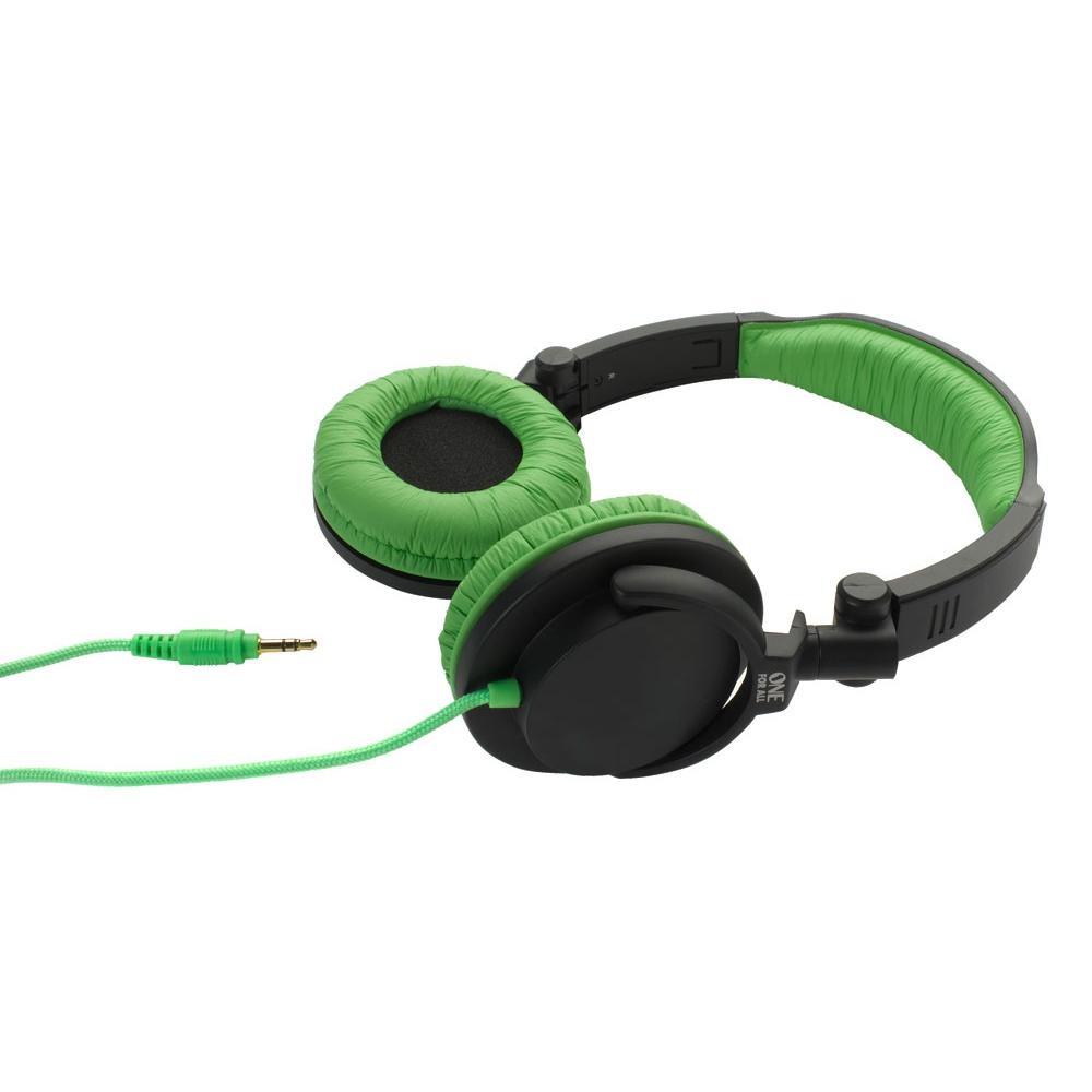 Fone de ouvido tipo headphone dobrável Full Bass Preto e Verde - ONE FOR ALL
