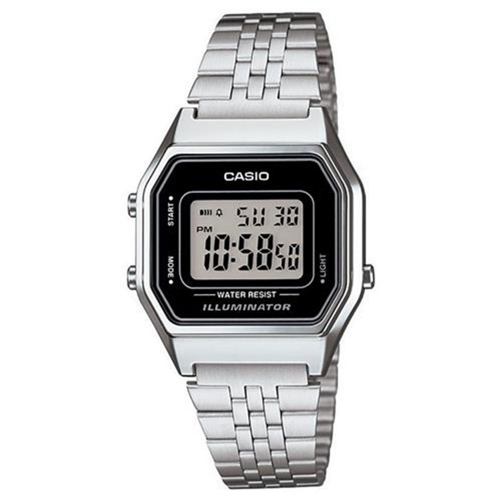 Relógio Feminino Digital Casio Vintage LA680WA-1DF - Prata