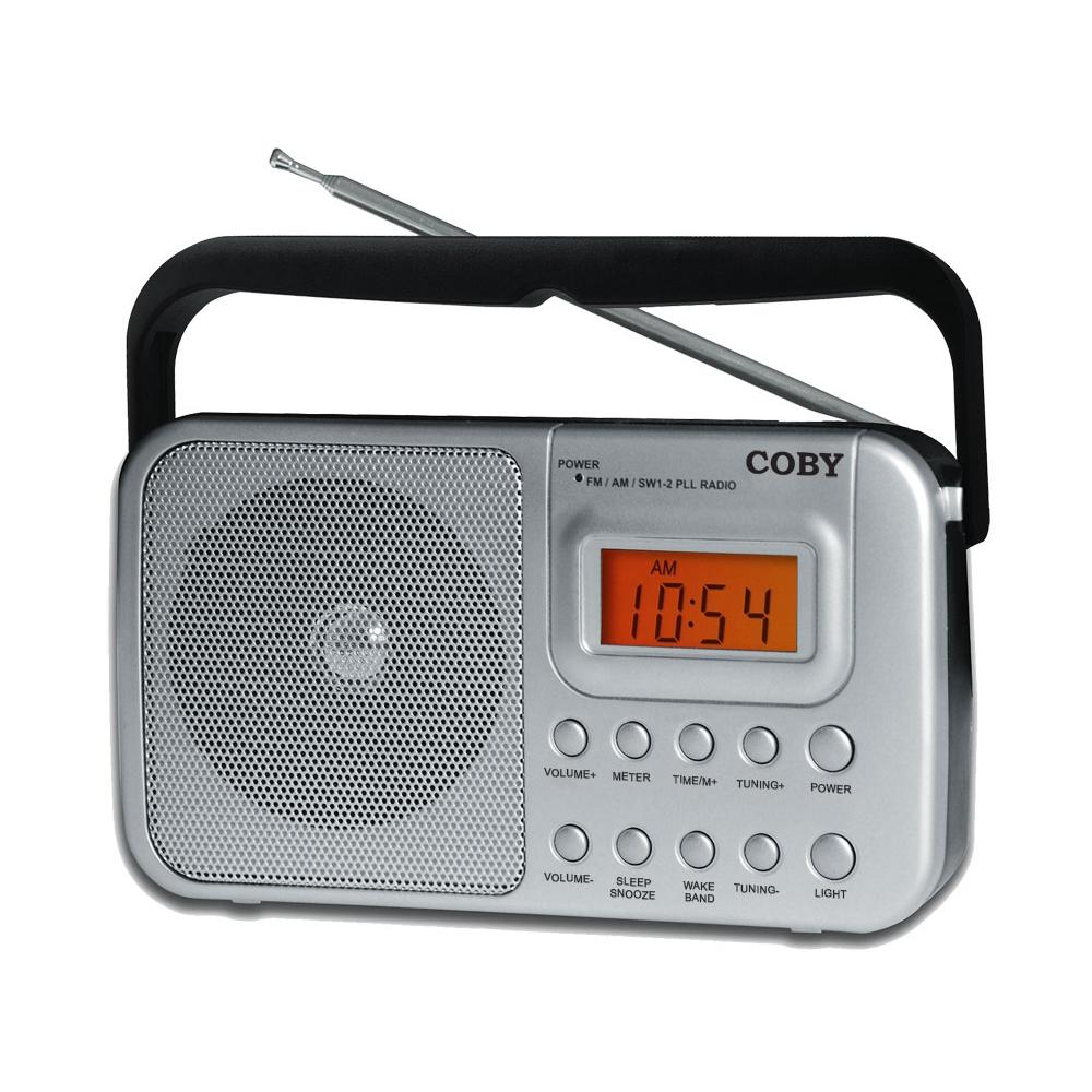 Rádio Portátil AM/FM/SW1/SW2 Coby com Relógio e Alarme - CR201