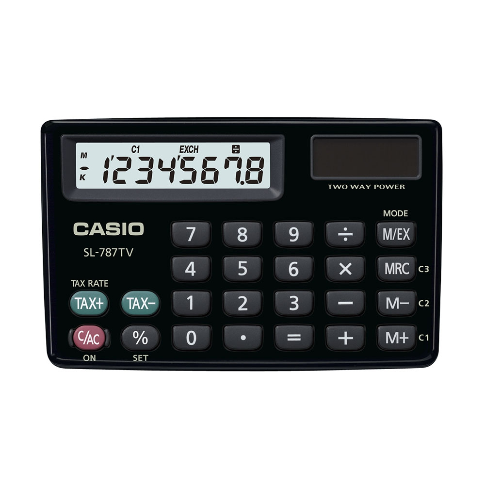 Calculadora Casio de bolso horizontal c/ visor 8 dígitos SL-787TV-BK - CASIO