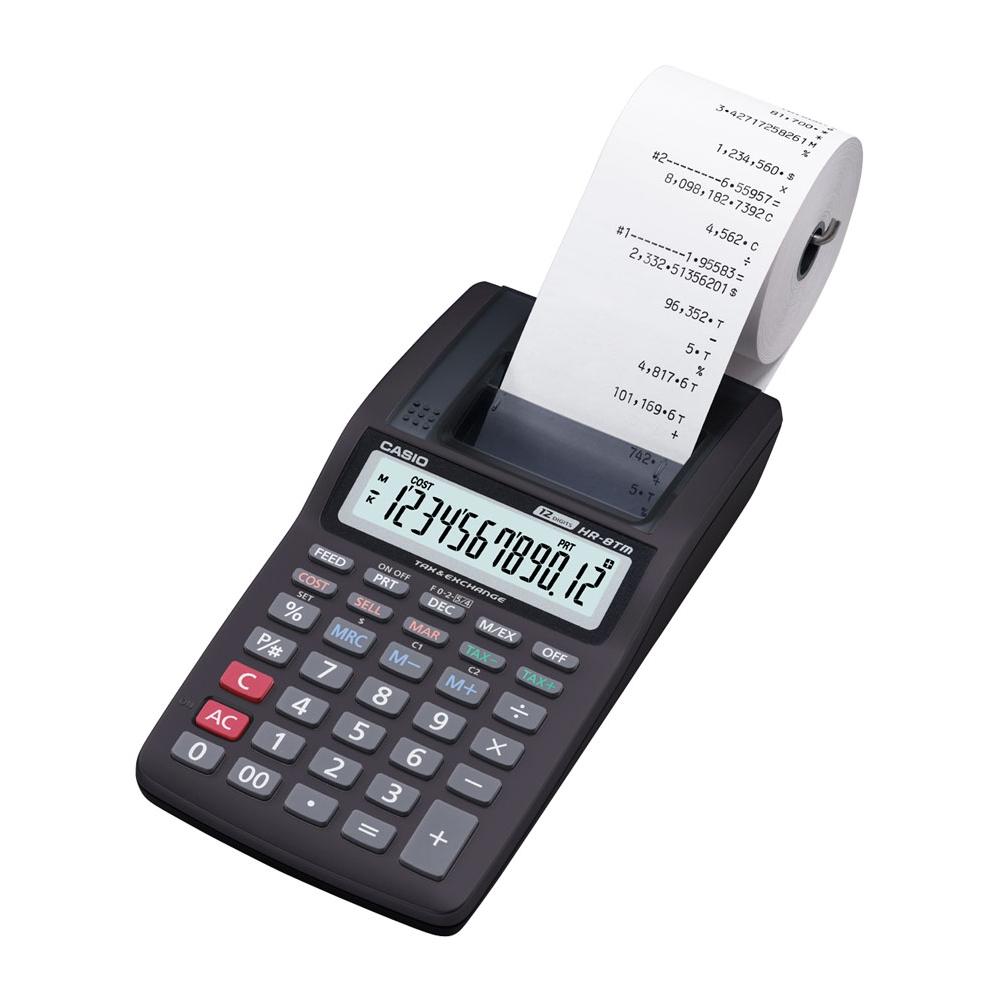 Calculadora Casio c/ impressora, 12 dígitos HR-8TM - CASIO