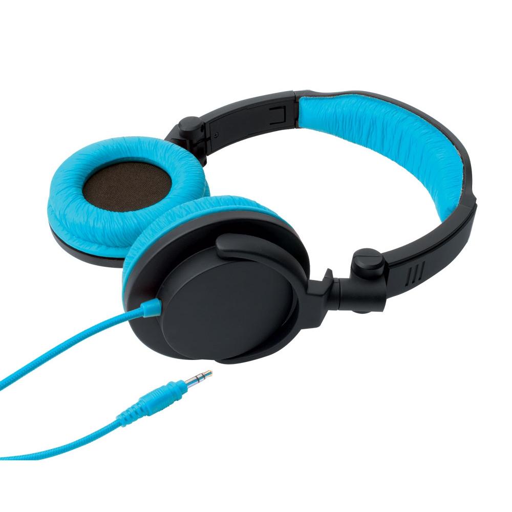 Fone de ouvido tipo headphone dobrável Full Bass Preto e Azul - ONE FOR ALL
