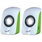 Caixa De Som 2.0 CH Genius SP-U115 com 1,5 Watts RMS - Branca e Verde