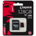 Cartão De Memória Classe 10 Kingston Micro SDXC 128GB  U3 Com Adaptador SD - SDCA3/128GB