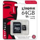 Cartão De Memória Classe 10 Kingston Micro SDXC Industrial 64GB Com Adaptador SD - SDCIT/64GB