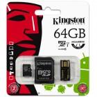 Cartão De Memória Classe 10 Kingston MultiKit 64GB Micro SDHC, Adaptador SD e USB - MBLY10G2/64GB