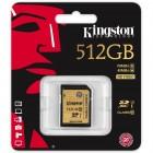 Cartão De Memória Classe 10 Kingston  Secure Digital Ultimate SDXC 512GB  - SDA10/512GB