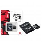 Cart�o de Mem�ria Kingston Classe 10 Micro SDHC 16GB com Adaptador SD SDC10G2-16GB