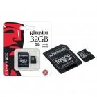 Cart�o de Mem�ria Kingston Classe 10 Micro SDHC 32GB com Adaptador SD SDC10G2-32GB
