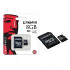 Cart�o de Mem�ria Kingston Classe 10 Micro SDHC 8GB com Adaptador SD SDC10G2-8GB