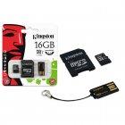 Cartão de Memória Kingston Classe 10 Micro SDHC com Adaptador SD e USB 16GB MBLY10G2/16GB