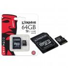 Cart�o de Mem�ria Kingston Classe 10 Micro SDXC 64GB com Adaptador SD SDC10G2-64GB