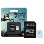 Cart�o de Mem�ria Kingston Micro SDHC Action com Adaptador SD 64GB SDCAC/64GB