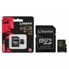 Cart�o de Mem�ria Kingston Micro SDXC com Adaptador SD UHS-I 64GB SDCA10-64GB