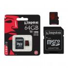 Cartão de Memória Kingston UHS-I U3 Micro SDXC com Adaptador SD 64GB SDCA3-64GB