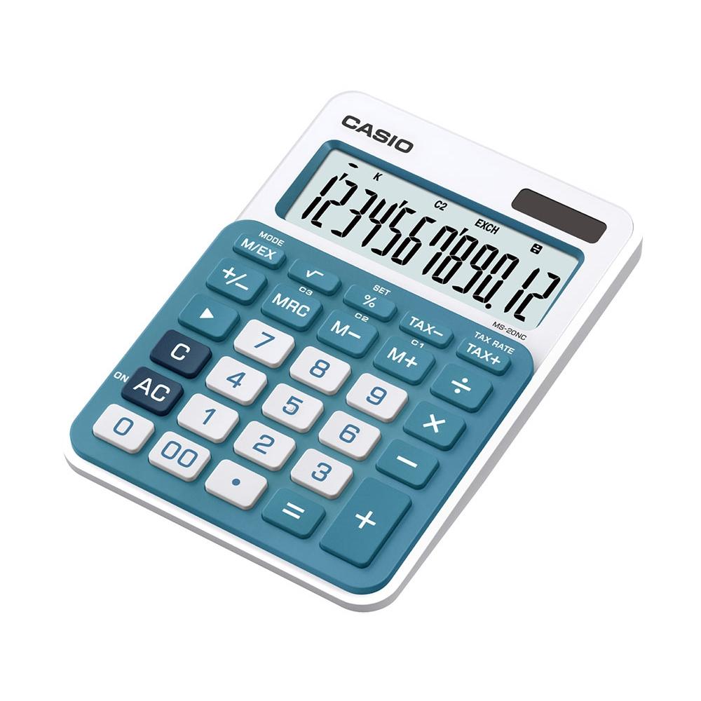 Calculadora Casio compacta de mesa, visor amplo de 12 dígitos MS-20NC-BU - CASIO