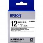 Fita Para Rotulador Epson LK-4WBN 12mm, Preto sobre Branco