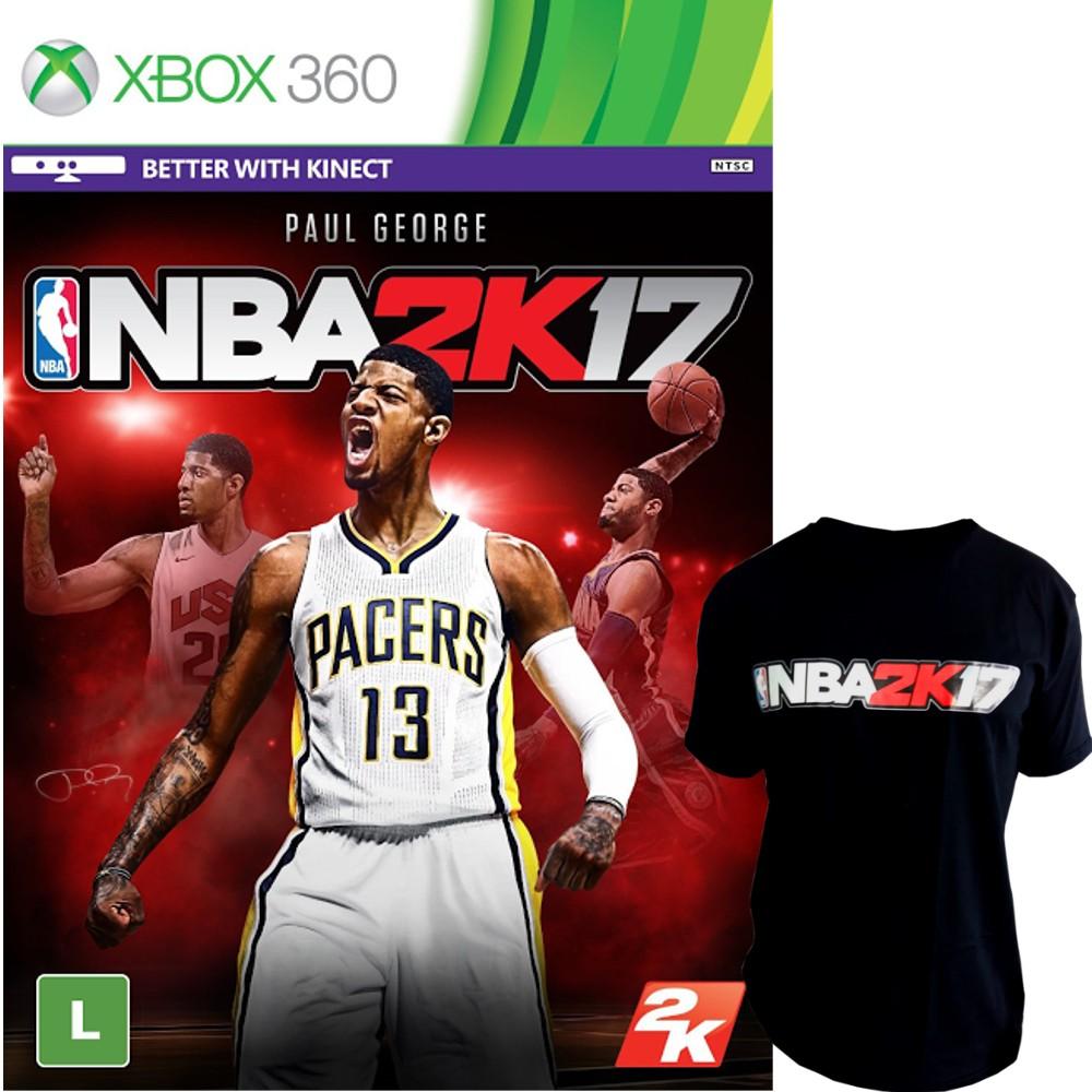 Jogo NBA 2K17 Xbox 360 + Camiseta Preta NBA 2K17