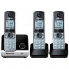 Telefone Sem Fio Panasonic KX-TG6713LBB Preto + 2 Ramais - Identificador de Chamadas, Viva Voz