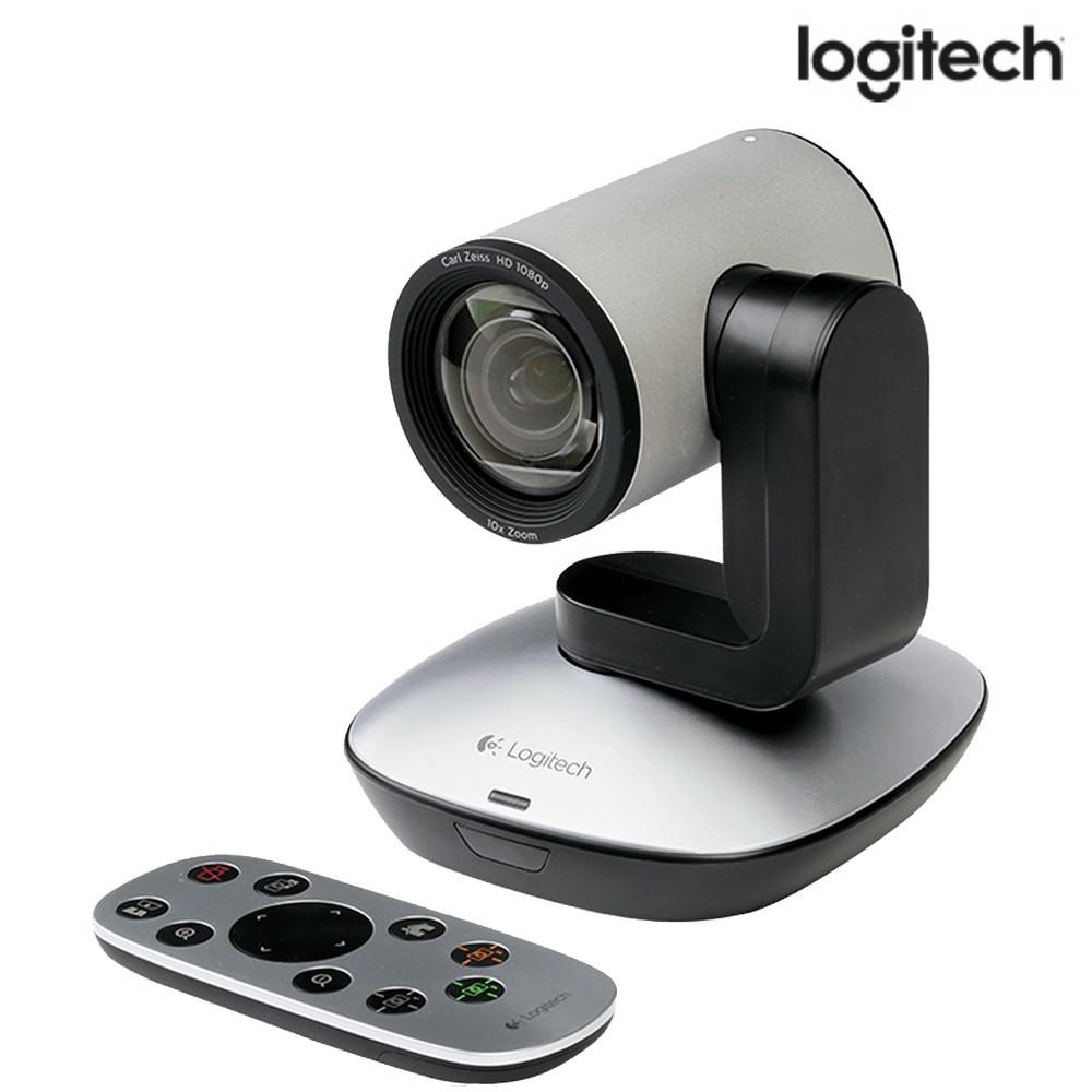 Webcam Logitech PTZ Pro 1080p Full HD Prata e Preto - USB, com Controle Remoto