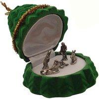 Mini Presépio folheado a ouro na embalagem árvore de Natal