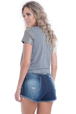 Imagem - Blusa de Viscolycra com Estampa Brilhante