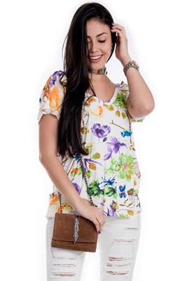 Imagem - Blusa Floral com Ilhós nas Costas