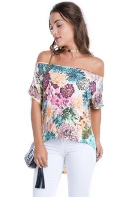 Imagem - T-shirt Floral Ombro Ca�do