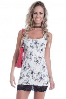 Imagem - Vestido Regata Floral com Renda