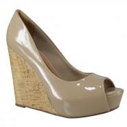 Sapato Peep Toe Anabela Via Marte