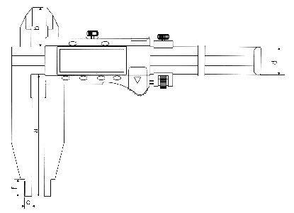 Paqu�metro Digital (Orelhas de Medi��o Externa) - 300mm - Leit. 0,01mm - Digimess