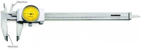 Paquímetro com Relógio (Metal Duro) - 150mm - Leit. 0,02mm - Digimess