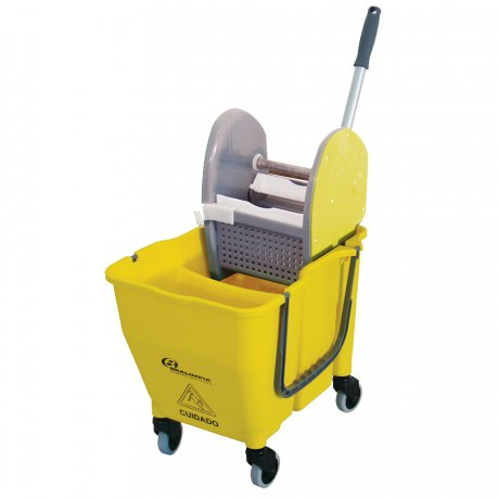 Conjunto Balde e Espremedor Doblô 30 Litros (Amarelo) - Bralimpia