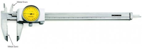 Paquímetro com Relógio (Metal Duro) - 200mm - Leit. 0,02mm - Digimess