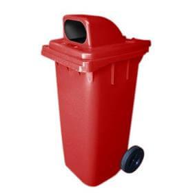 Cesto Gari Tampa Especial - Vermelho - Rodas 300mm  - 240 Litros - Bralimpia