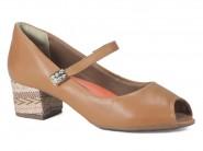 Sapato Ramarim Peep Toe Caramelo 1592206